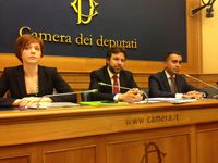Marta Grande, Mattia Fantinati e Luigi Di Maio, deputati alla Camera del M5S